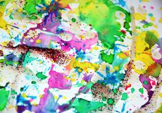 嬉戏的闪耀的被弄脏的生动的淡色形状,抽象水彩柔和的淡色彩颜色 库存图片