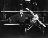 嬉戏的飞行员画象有飞机的(所有人被描述不更长生存,并且庄园不存在 供应商保单t 库存照片