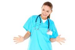 嬉戏的年轻人护士或医生 免版税库存照片