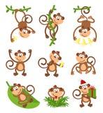 嬉戏的猴子字符传染媒介集合 汉语 免版税库存图片