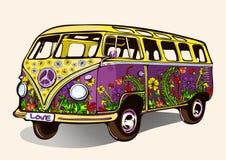 嬉皮葡萄酒公共汽车,有喷枪喷射的减速火箭的汽车,手图画,动画片运输 库存例证