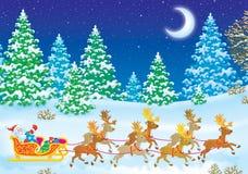 子句他的驯鹿圣诞老人雪橇 免版税库存照片