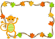 猴子和叶子贺卡 库存照片