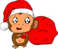 猴子圣诞老人 免版税库存照片
