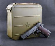 子弹和枪的箱子 库存照片