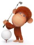 猴子打高尔夫球 免版税库存照片