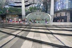 离子果树园在热带大雨以后的商城新加坡 图库摄影