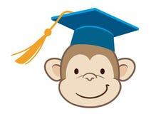 猴子毕业生动画片画象 免版税库存照片