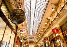 子线拱廊是一个维多利亚女王时代式购物拱廊在中心商务区,在彼特街购物中心和乔治街之间 免版税库存图片
