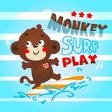 猴子逗人喜爱的使用的海浪 免版税库存图片