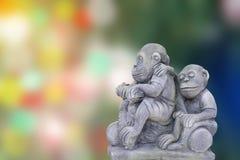 猴子雕象 免版税图库摄影
