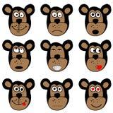 猴子面孔,意思号贴纸例证 库存图片