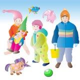 子项和玩具 免版税库存照片
