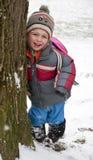 子项在冬天公园 库存照片