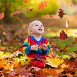 子项在秋天公园 与秋叶的孩子 图库摄影