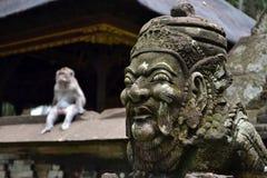 猴子&巴厘语印度寺庙 库存图片