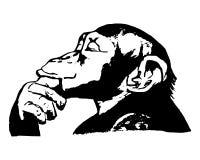 猴子头(图表) -黑猩猩的想法 免版税库存图片