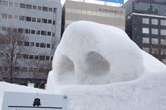 鼻子结构与鼻孔的,札幌雪节日2013年 免版税库存照片