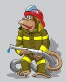 猴子-消防员 库存照片