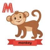 猴子 Alphabet.m letter.mushroom月亮老鼠魔术猴子 逗人喜爱的在传染媒介的儿童动物字母表 滑稽 库存图片