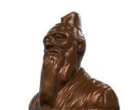 孔子古铜色雕象  库存图片