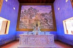 孔子雕象在孔子寺庙会安市,越南联合国科教文组织世界遗产名录 库存照片