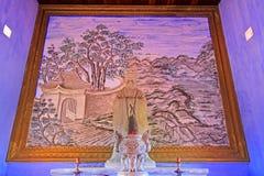 孔子雕象在孔子寺庙会安市,越南联合国科教文组织世界遗产名录 免版税库存照片