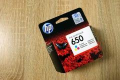 孔斯凯,波兰- 2019年6月21日:HP打印机的墨水好处650 图库摄影