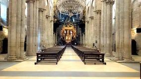 孔波斯特拉的圣地牙哥大教堂的内部  库存照片