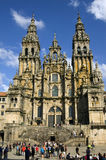 孔波斯特拉的圣地牙哥大教堂,加利西亚,西班牙 库存照片