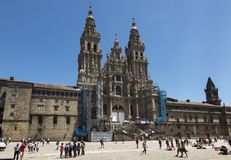 孔波斯特拉的圣地牙哥,西班牙- 2018年6月14日:圣地亚哥de Compos 免版税图库摄影