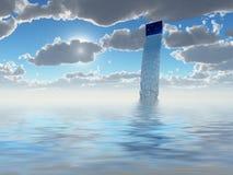 从孔的水流量在天空 免版税库存照片