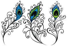 孔雀您的设计的羽毛集合 库存例证