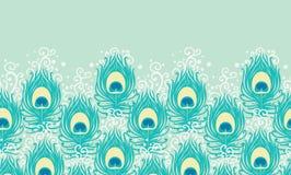 孔雀用羽毛装饰传染媒介水平无缝 免版税库存图片