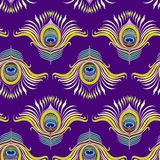 孔雀用羽毛装饰传染媒介无缝的样式 免版税库存照片