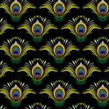 孔雀用羽毛装饰传染媒介无缝的样式 免版税图库摄影