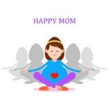 孕妇、愉快的妈妈概念、凝思和瑜伽pregn的 免版税库存照片