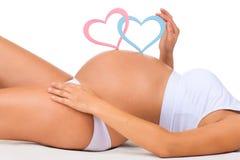 孕妇的特写镜头腹部 性别:男孩、女孩或者孪生? 免版税库存图片