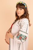 年轻孕妇的画象 免版税图库摄影