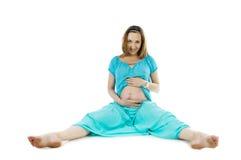 孕妇说谎 免版税库存图片