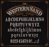 字体、西部字体字母表、数字和标志 库存例证