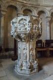 字体在诺威治大教堂,诺福克,英国里 图库摄影