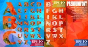字体多角形几何设计和样式抽象颜色 库存图片