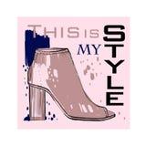 字体海报的例证与冬天妇女鞋子的 女性和夫人的图表顶视图鞋类 时尚设计为 免版税库存图片