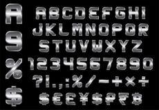 字母表、数字、货币和标志包装-长方形二面对切的金属字体 免版税库存图片