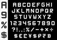 字母表、数字、货币和标志包装-长方形基本的字体 库存照片