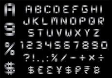 字母表、数字、货币和标志包装-长方形弯的金属字体 图库摄影
