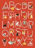字母表与动物例证的海报设计 免版税图库摄影