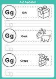 字母表与动画片词汇量的a-z锻炼彩图的 库存照片