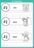 字母表与动画片词汇量的a-z锻炼彩图的 免版税图库摄影